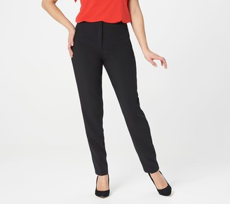 Susan Graver Regular City Stretch Zip-Front Slim Leg Pants
