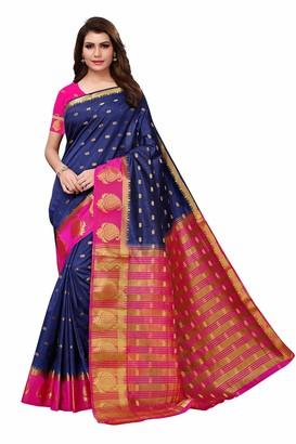 Skyview Fashion Women Pure Kanchipuram Kanjivaram Bridal Pattu Sari Banarasi Tussar Mysore Silk Saree (Navyblue-SkyBlue)