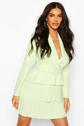 boohoo Belted Pleated Detail Blazer Dress