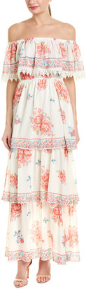 Champagne & Strawberry Tiered Maxi Dress