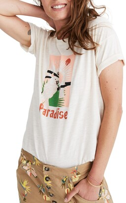 Madewell Paradise Parrots Graphic Whisper Cotton Crewneck Tee