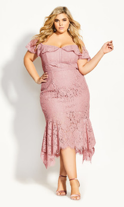 City Chic Angel Lace Dress - rose