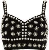 River Island Womens Black faux pearl embellished bralet