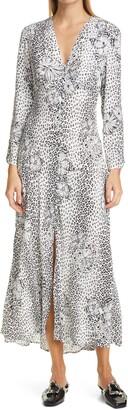 Rixo Katie Mixed Print Midi Dress