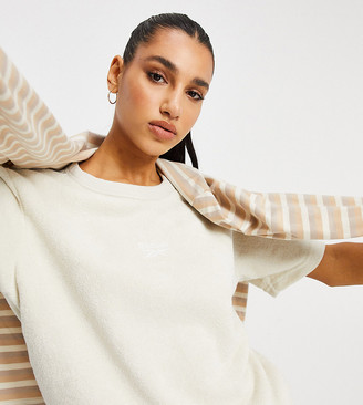 Reebok Classics Toast co-ord t-shirt in off white terry towelling Exclusive to ASOS