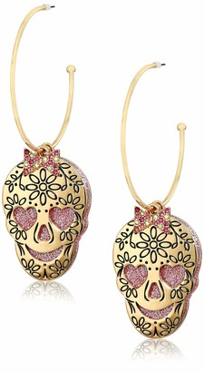Betsey Johnson Skull Charm Convertible Hoop Earrings