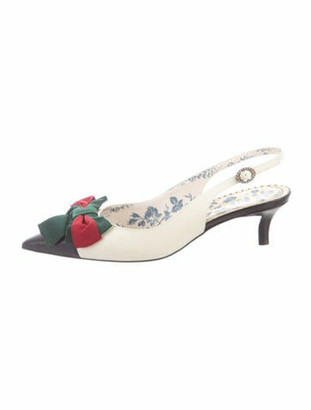 Gucci Web Accent Leather Slingback Pumps