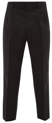 Ami High Rise Wool Crepe Trousers - Mens - Black