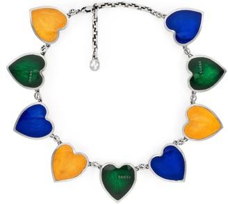 Gucci Multicolor enamel heart necklace