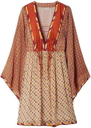 Talitha Collection Jasmin Embellished Lace-up Printed Chiffon Dress