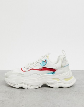 Bershka chunky sole sneakers in white with multi color detail