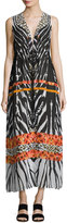 Alberto Makali V-Neck Graphic-Print Caftan Dress, Orange Pattern