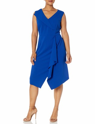 Donna Morgan Women's Plus Size Stretch Crepe V-Neck Fit and Flare Dress