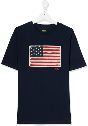 Ralph Lauren Kids TEEN flag print T-shirt