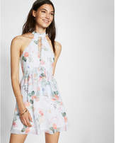 Express Floral Print Tiered Fit And Flare Dress