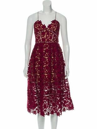 Self-Portrait Lace Pattern Midi Length Dress w/ Tags Red