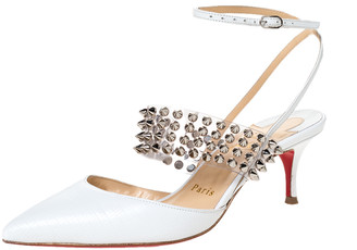 Christian Louboutin White Lizard Embossed Leather and PVC Levita 55 Studded Ankle Wrap Sandals Size 36