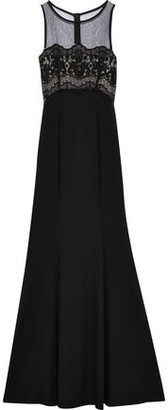 ZAC Zac Posen Ken Tulle And Guipure Lace-paneled Crepe Gown