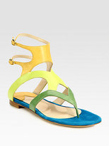 Paul Andrew Sahara Leather & Suede Thong Sandals