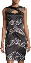 Jax Lace Chevron Sleeveless Sheath Dress, Black/Silver