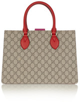 Gucci Linea A Small Leather-trimmed Coated-canvas Tote