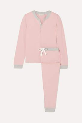 Morgan Lane - Kaia Two-tone Stretch-jersey Pajama Set - Antique rose