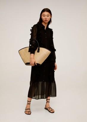 MANGO Ruffled midi dress black - 4 - Women