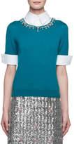 Mary Katrantzou Ella Embellished Point-Collar Knit Combo Top