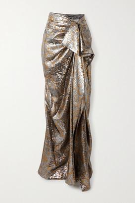 Dries Van Noten Draped Metallic Silk-blend Lame Maxi Skirt - Silver