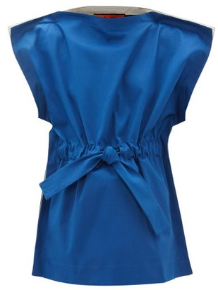 colville Gathered Drawstring Cotton Blouse - Blue