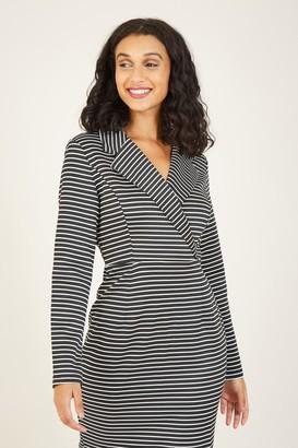 Yumi Black Stripe Wrap Dress