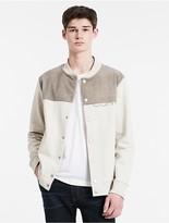Calvin Klein Suede Mixed Media Bomber Jacket