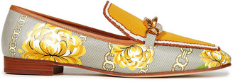 Tory Burch Printed Leather And Jacquard-knit Loafers