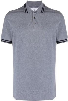 Brunello Cucinelli Striped Trim Cotton Polo Shirt