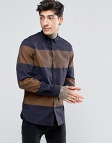 Fred Perry Shirt With Bold Stripe In Bright Gold In Slim Fit