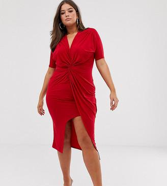 Club L London Plus slinky twist front maxi dress