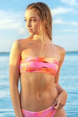 PQ Swim Corona Tie Dye Color Block Bandeau Bikini Top Pink Multi S