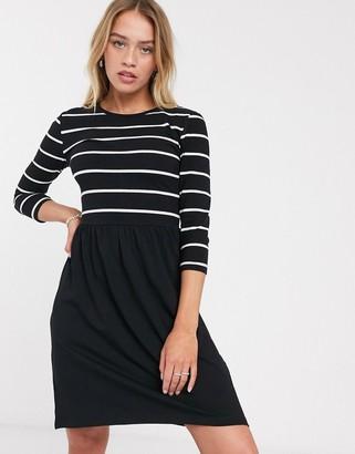 Only Lamber 2 in 1 stripe dress in black