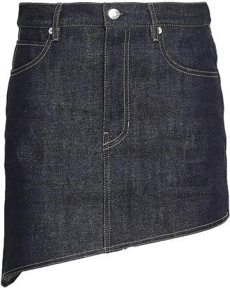 Helmut Lang Asymmetric Denim Mini Skirt