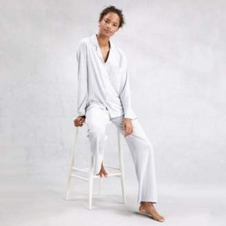 The White Company Brushed Cotton Stripe Pyjama Set, White Blue, Extra Large