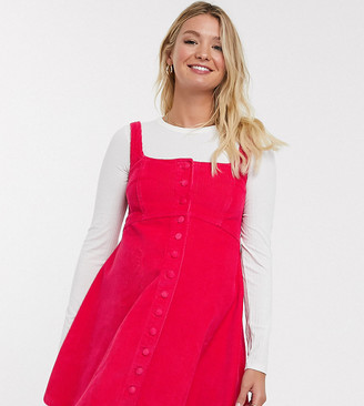 ASOS DESIGN Maternity cord sleeveless skater dress in raspberry