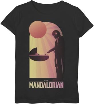 Star Wars Girls 7-16 The Mandalorian The Child aka Baby Yoda Sunset Meeting Graphic Tee