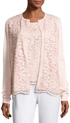 Joan Vass Lace-Front Cardigan, Light Pink, Petite