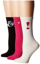 Kate Spade Ampersand/Exclamation Point/Sparkle Gift Box Item 3-Pack Women's Crew Cut Socks Shoes