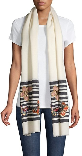 Thumbnail for your product : Janavi Butterflies On Stripes Wool & Silk Scarf