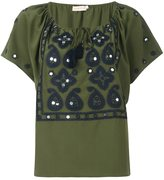 Tory Burch drawstring neck embroidered blouse - women - Silk/Polyester - 2