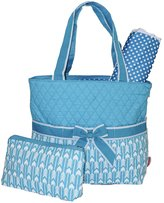 Ever Moda Blue Arrow Quilted Diaper Bag with Change Pad