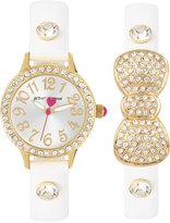 Betsey Johnson Women's White Imitation Leather Strap Watch & Bracelet Set 30mm BJ00536-37