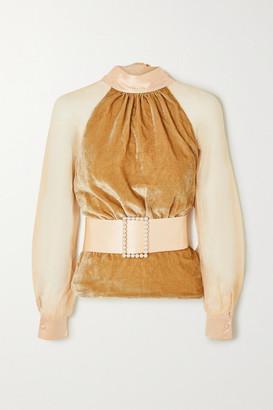 Harmur HARMUR - Open-back Belted Silk-blend Velvet And Tulle Blouse - Antique rose