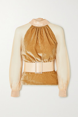 HARMUR Open-back Belted Silk-blend Velvet And Tulle Blouse - Antique rose